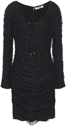 Roberto Cavalli Lace-up Ruched Lace Mini Dress