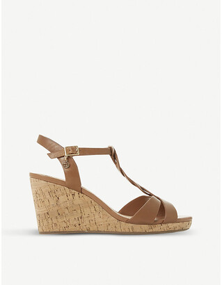 Dune Koala plait T-bar cork wedge sandals