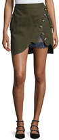 Self-Portrait Utility Miniskirt with Lace Insert, Khaki