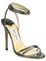 Jimmy Choo Tizzy 100 Metallic Leather Ankle-Wrap Sandals