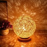 LEIWOOR Solid Wood Table Bedside Lamp LED Night Light Home Decor Rattan Ball Christmas Gift