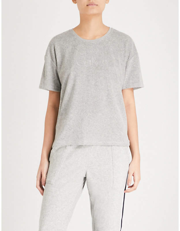 Calvin Klein Logo-embroidered terry-towelling cotton T-shirt