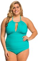 Kenneth Cole Plus Size The Ruffle Shuffle High Neck One Piece Swimsuit 8139308