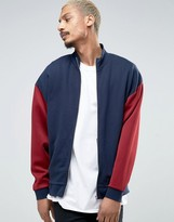 Asos Oversized Jersey Track Jacket With Red Polytricot Sleeves