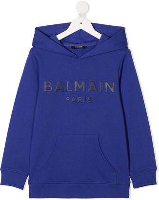 Balmain Kids Logo-Embroidered Hoodie