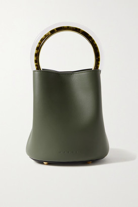 Marni Pannier Small Leather Bucket Bag - Army green