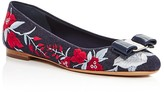 Salvatore Ferragamo Varina Embroidered Denim Ballet Flats