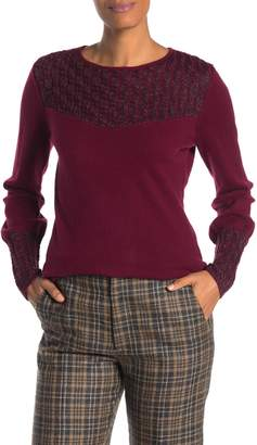 Sofia Cashmere Metallic Cable Knit Cashmere Blend Sweater