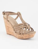 DELICIOUS Strappy Braid Womens Wedges