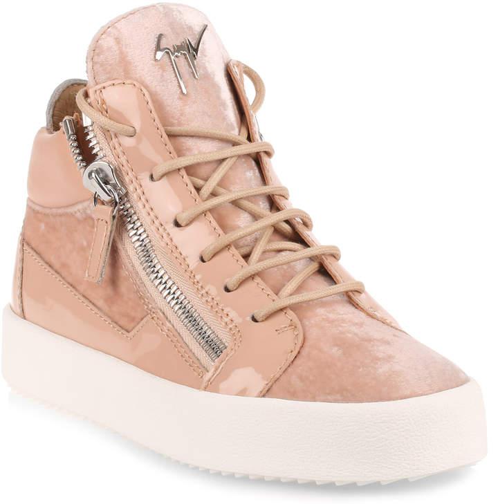 Giuseppe Zanotti Powder velvet and patent leather sneaker
