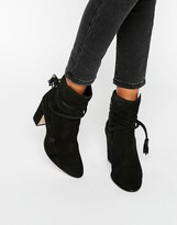 Dune Onyx Tie Wrap Suede Heeled Ankle Boots