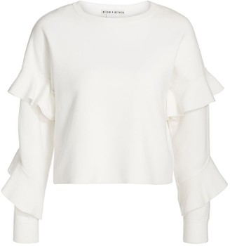 Alice + Olivia Nettie Ruffle-Sleeve Top