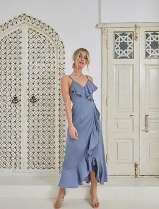 Forever New Ivana Wrap Frill Midi Dress - Blue - 4