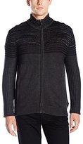 Calvin Klein Men's Textured Stripe Full Zip Sweater