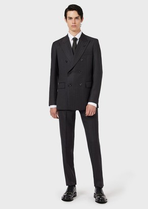 Emporio Armani Slim-Fit Double-Breasted Suit In Woven Pinstriped Wool
