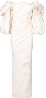 Rachel Gilbert Ginny off-shoulder gown