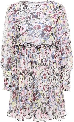 Ganni Floral-print Plisse-paneled Georgette Mini Dress