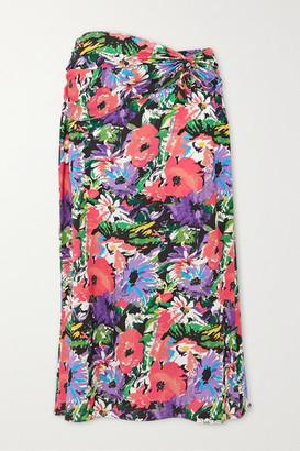 ART DEALER Olivia Gathered Floral-print Silk-blend Midi Skirt - Purple