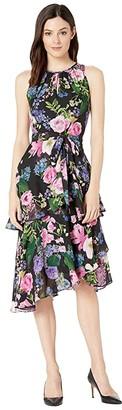 Tahari ASL Printed Floral Chiffon Dress with Cascade Skirt