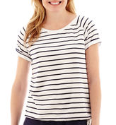 JCPenney Silverwear French Terry Side-Striped Ruched T-Shirt - Petite