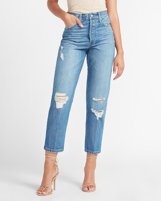 Express High Waisted Original Ripped Cropped Dad Jeans