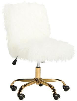 Safavieh Whitney Faux Sheepskin Gold Leg Swivel Office Chair