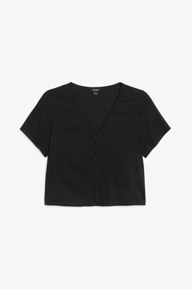 Monki Cropped button-up blouse