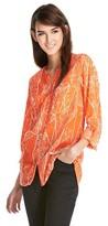 Mossimo Button Down Blouse Orange Print