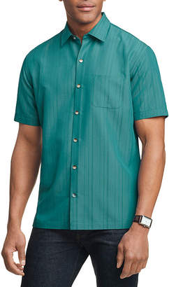 Van Heusen Mens Short Sleeve Cooling Moisture Wicking Button-Front Shirt