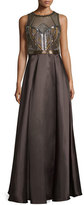 Badgley Mischka Sleeveless Embellished-Bodice Ball Gown, Mink