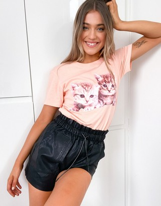Brave Soul kitten graphic t-shirt in peach