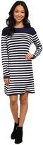Lacoste Long Sleeve Placement Stripe Wool Sweater Dress