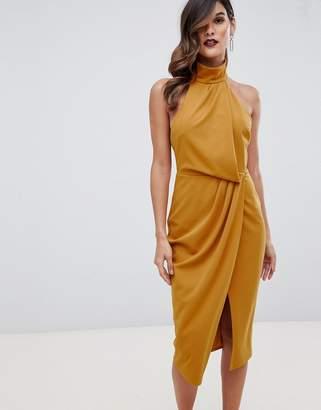 Asos Design DESIGN halter drape pencil midi dress-Yellow