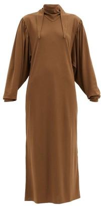 Lemaire Scarf-neck Cotton Midi Dress - Brown
