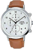 Lorus Rm319ex9 Chronograph Date Leather Strap Watch, Tan/white