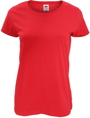 Fruit of the Loom Womens/Ladies Short Sleeve Lady-Fit Original T-Shirt (2XL) (Red)