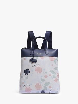 Radley Painterly Floral Medium Ziptop Backpack, White/Multi