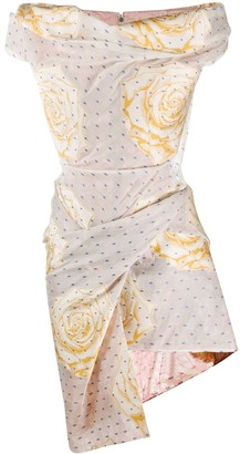 Vivienne Westwood Draped Bustier Floral-Print Dress