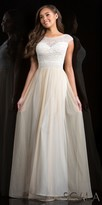 Scala Enchanting Bateau Cap Sleeve A-line Evening Dress