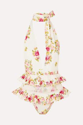 Zimmermann Honour Tulle-trimmed Floral-print Halterneck Swimsuit - Cream