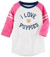 "Osh Kosh Toddler Girl I Love Puppies"" Slubbed Raglan Graphic Tunic Top"