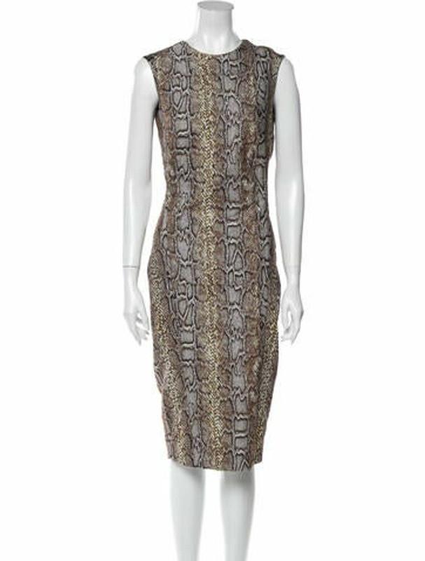 Victoria Beckham Animal Print Midi Length Dress Brown