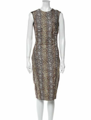 Victoria Beckham Animal Print Midi Length Dress Brown