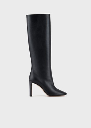 Giorgio Armani High-Heeled Boots In Nappa Leather With Half-Crescent Heel