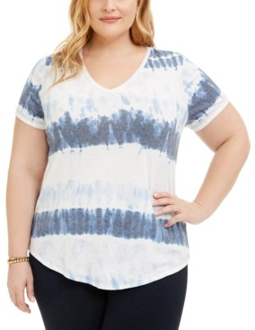 Style&Co. Style & Co Plus Size Tie-Dyed V-Neck T-Shirt, Created for Macy's