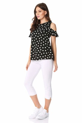 Roman Originals Women Polka Dot Ruffle Cold Shoulder Top - Ladies Casual Everyday Spring Summer Ruffle Frill Round Neck Trendy Holiday Travel Comfortable Top - Black - Size 12