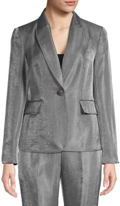 Kasper Suits Single-Breasted Metallic Blazer Jacket