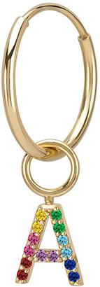 Sarah Chloe Amelia 14k Gold Rainbow Initial Single Hoop Earring