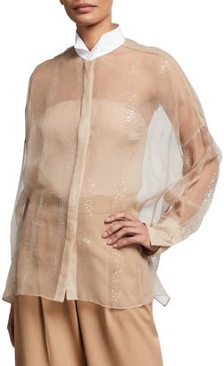 Brunello Cucinelli Sequined Crispy Silk Two-Piece Blouse