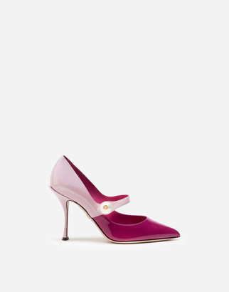 Dolce & Gabbana Patent Leather Two-Tone Pumps With Pearl Detail